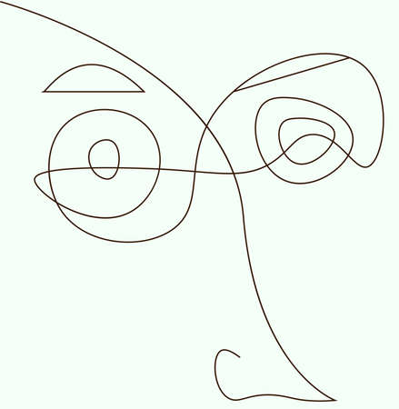 Abstract face line. Modern drawing in the cubism style.Portrait of a male face isolated on a white background