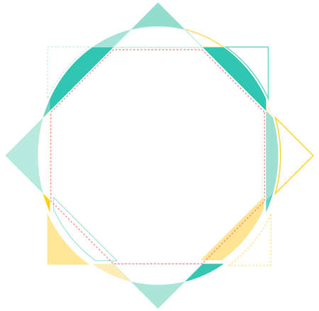 Abstract frame with the colorful geometric shapes and line Illustration