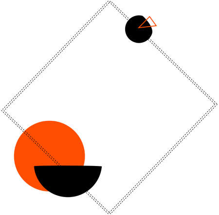 Abstract frame with the lines, dotted line and orange shape.