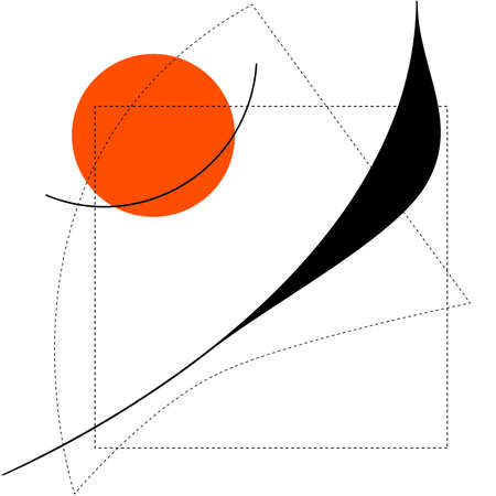 Abstract composition with the lines, dotted line and orange shape.