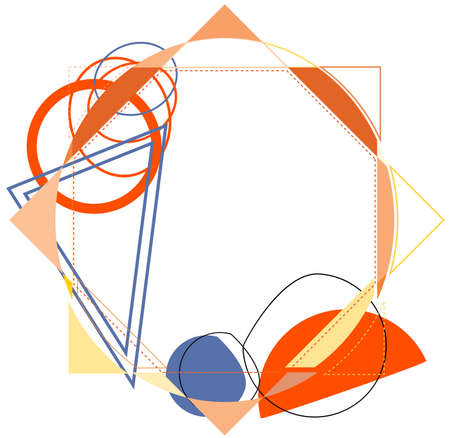 Abstract frame with the jumble of geometric shapes Illustration