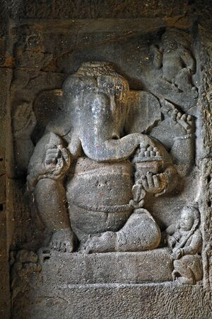 Statue of God Ganesh ganpati in Ellora caves,Aurangabad,Maharashtra,India