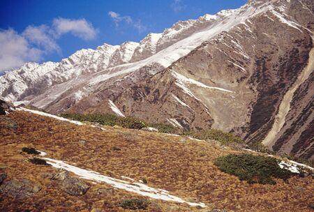 Fresh snow patches on grassy slopes at Uttaranchal,India