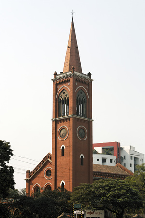 Heritage Lal Deval synagogue Neo gothic red brick building by David Sassoon,Pune,Maharashtra,India