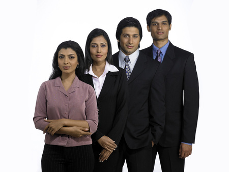 South Asian Indian executive men and women standing in style