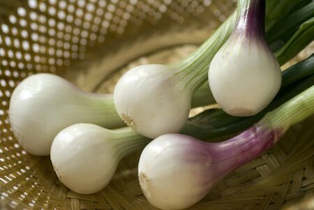 Spring onions five fresh green white salad vegetable in cane basket