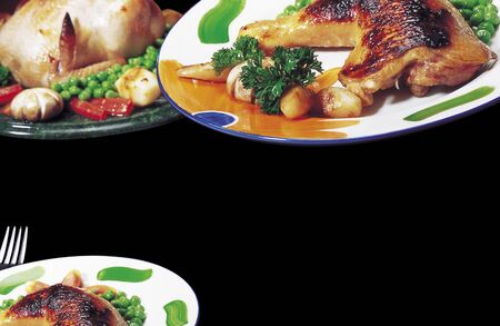 non: Non vegetarian meal,England Cuisine,Roast Chicken served in dish on black background