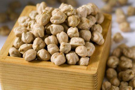 Chole large white Dried gram seeds legume vegetable close up few