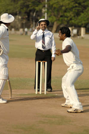 Indian umpire indicating out sign by raising index finger and bowler enjoying in cricket match Stock Photo