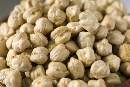 Chole large white Dried gram seeds legume vegetable close up few