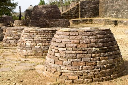 Remains of large number of other Buddha stupa on main terrace at Sanchi,Madhya Pradesh,India World Heritage LANG_EVOIMAGES