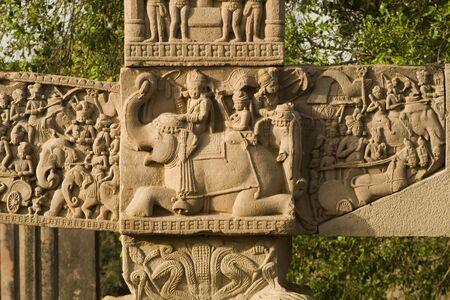 South gateway stupa 1, Buddhist art at Sanchi in Madhya Pradesh,India