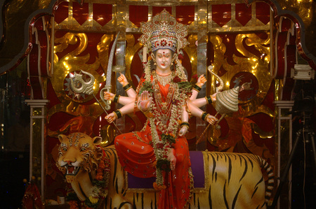 Navaratri dandiya garba Festival,Procession of Ma Ambadevi,Bhavani Devi from Kalwa to Tembhi Naka,Thane,Maharashtra,India Stock Photo