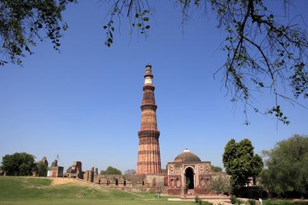 Alai Darwaza and Qutab Minar built in 1311 red sandstone tower,Delhi,India UNESCO World Heritage Site