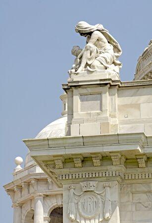 Statue at Victoria Memorial monument,Calcutta now Kolkata,West Bengal,India