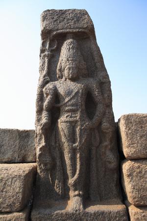 pallava: Lord Shiva statue at Shore temple built c. 700 - 728,Mahabalipuram,District Chengalpattu,Tamil Nadu,India UNESCO World Heritage Site