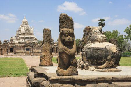 Kailasanatha temple,Dravidian temple architecture,Pallava period (7th - 9th century),district Kanchipuram,state Tamil Nadu,India