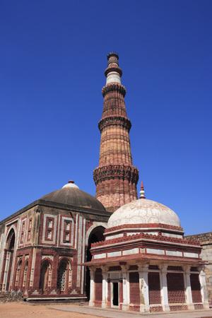 Alai Darwaza,Imam Zamins tomb and Qutab Minar built in 1311 red sandstone tower,Delhi,India UNESCO World Heritage Site