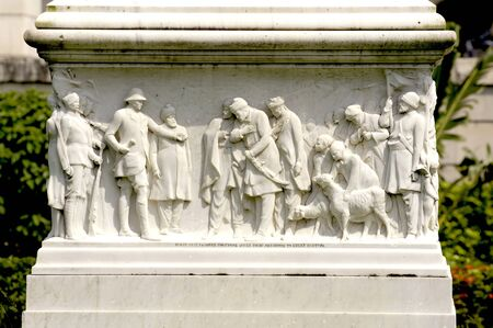 Statues carved at Victoria Memorial monument,Calcutta now Kolkata,West Bengal,India Stock Photo