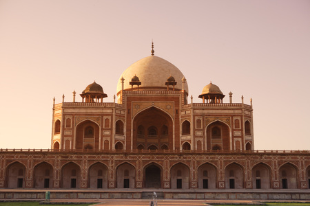 Sunrise at Humayuns tomb built in 1570,Delhi,India UNESCO World Heritage Site