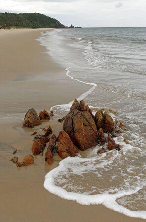 konkan: Surf waves dash on rock at beach,Village Bhogwe,Konkan,District Sindhudurga,Maharashtra,India