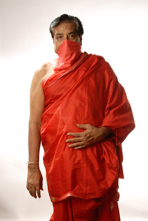 dhoti: Indian man profession Jain Devotee with mouth covered