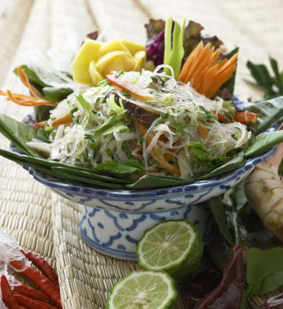 Vegetarian meal,Thai glass noodle salad served in bowl with ingredients Stock Photo