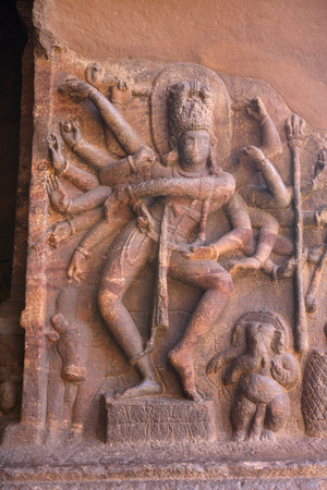 Statue of Lord Shiva at Badami,Chalukya Cave 1575 A.D. - 585 A.D.,UNESCO World Heritage Site,Bagalkot,Karnataka,India