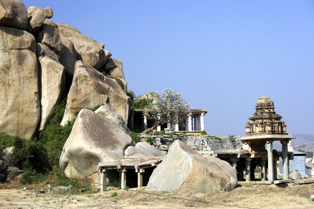Old temple,Hampi Vijayanagar ruins,Karnataka,India Stock Photo