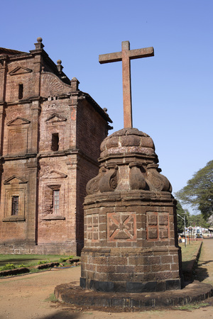 Rear View Of Basilica Of Bom Jesus church built in 1585 A.D. With Laterite Stone,UNESCO World Heritage Site,Old Goa,Velha Goa,India