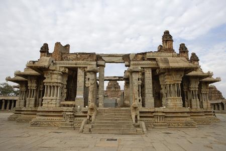 Frontal view of dolotsava mandapa or musical hall,Vitthal Temple,Hampi,Vijayanagar,UNESCO World Heritage site,Deccan plateau,Taluka Hospet,District Bellary,Karnataka,India Stock Photo