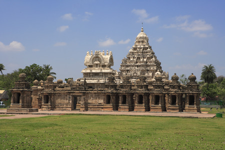 Kailasanatha temple,Dravidian temple architecture,Pallava period (7th - 9th century),district Kanchipuram,state Tamil Nadu,India