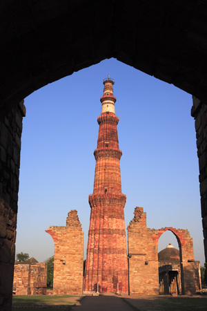 Qutab Minar built in 1311 red sandstone tower,Indo-Muslim art,Delhi sultanate,Delhi,India UNESCO World Heritage Site