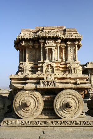 Stone chariot in front of Vijaya Vittala temple,Hampi Vijayanagar ruins,Karnataka,India Stock Photo