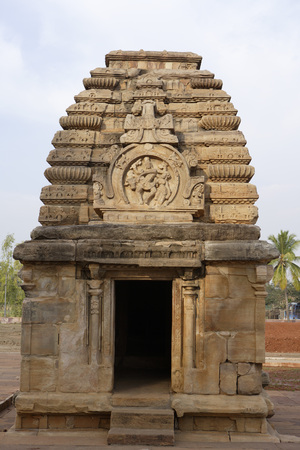 Jambulinga Temple tower curving ribs decorated horseshoe shaped large panel of Shiva dancing with Nandi and Parvati,Pattadakal,Chalukya,District Bagalkot,Deccan plateau,Karnataka,India
