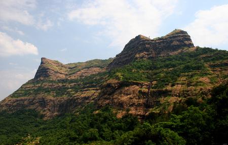 Takmak tok and Hirkani buruj in Raigad fort,Pachad,Mahad,Raigad,Maharashtra,India