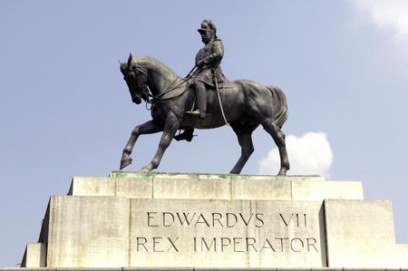 Edwards Vii Rex imperator statue at Victoria Memorial monument,Calcutta now Kolkata,West Bengal,India Stock Photo