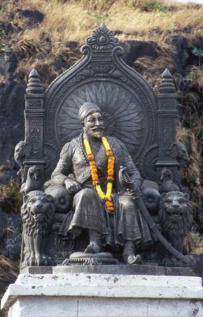 Fort Raigad, Chatrapati Shivaji Maharaj, Mahad, Maharashtra, India의 동상 스톡 콘텐츠