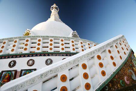 Buddhist temple inaugurated in 1985 Dalai Lama Shanti Stupa,leh valley,Ladakh,Jammu & Kashmir,India