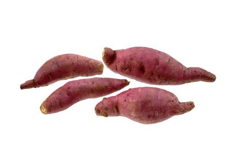 Vegetable,Five Sweet Potato on white background Stock Photo