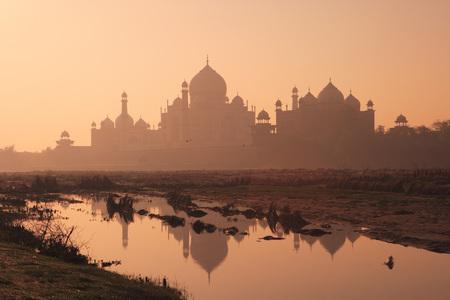 Reflection of Taj Mahal Seventh Wonders of World in Yamuna river,Agra,Uttar Pradesh,India UNESCO World Heritage Site