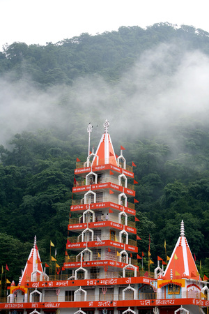 Trayambakeshwar temple situated over Ganga River at Rishikesh,Uttaranchal,India Stock Photo