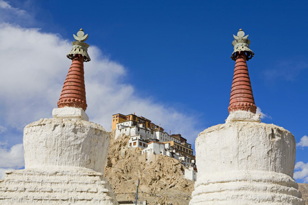 Front view of the impressive Thiksey Buddhist Monastery,Ladakh,Jammu and Kashmir,India