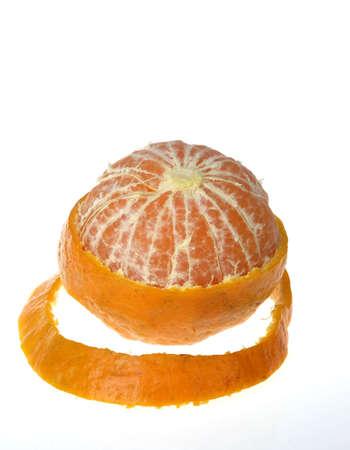 Fruit,Orange one partially open peeled on white background