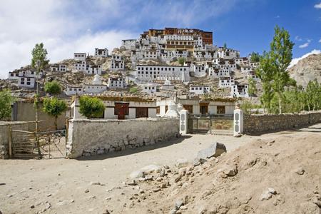 Front view of impressive Thiksey Buddhist Monastery,Ladakh,Jammu and Kashmir,India Stock Photo