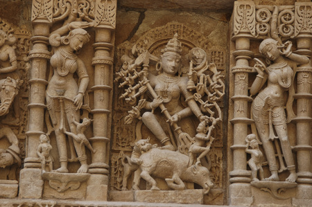 Statues carved on wall in Patan Jain temple,Patan,Gujarat,India