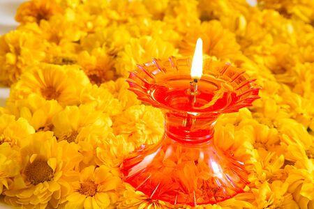 Hybrid Zinnia Flowers orange color and plastic oil lamp,India