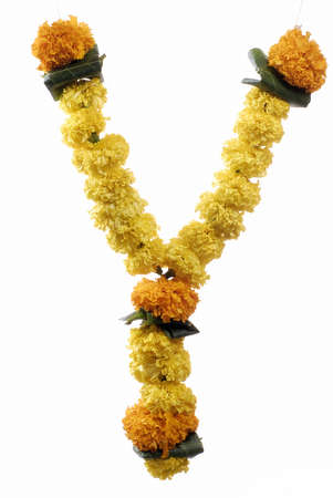 Marigold garland for prayer on Indian Dussera dusera Festival Stock Photo