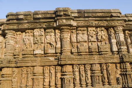 Wall of 13th century Sun temple carved with images representing everything mundane and mythological World Heritage monument,Konarak,Orissa,India
