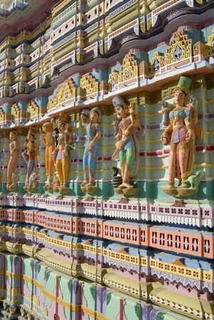 Decorative wall of Jain temple of Jakhau,Jakhau,Kutch,Gujarat,India